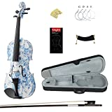 Kinglos 4/4 Elegant Colored Ebony Fitted Solid Wood Violin Kit with Case, Shoulder Rest, Bow, Manual, Extra Bridge and Strings Full Size