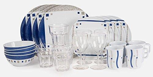 Melamingeschirr Cubic Blue Starterset 24 Teile inkl. 4xWeinglass + 4x Trinkglass