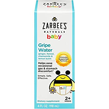 Zarbee s Naturals Baby Gripe Water Clinically Supported Formula with Ginger Fennel Chamomile Lemon Balm 4 Ounce Bottle