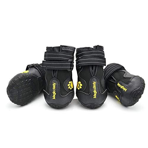 PETCUTE Chaussures pour Chien de Protection Bottines Imperméables pour Chien de Taille Petit Moyenne et Grande Utilisation en Extérieur(Noir 3#)