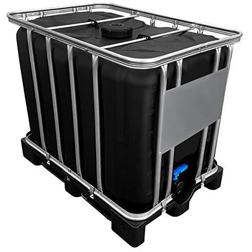 Werit 600l IBC Container SCHWARZ auf PE-Palette NEU Deckelgröße DN 150, Armaturgröße S60x6 Grobgewinde