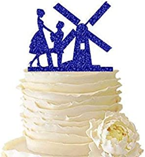 Cheyan Glitter Couple with Windmill - Wedding - Bridal Shower - Engagement - Acrylic Special Event Cake Topper