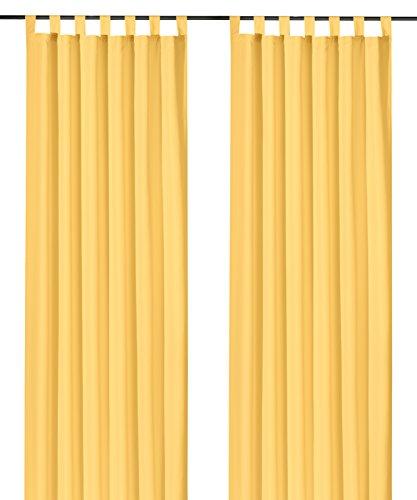 heimtexland ® Dekoschal mit Schlaufen und Kräuselband uni in gelb HxB 175x140 cm BLICKDICHT aber Lichtdurchlässig - Vorhang natürlich matt einfarbig mit wunderschön leichtem Fall - Schlaufenschal Bandschal ÖKOTEX Gardine Typ117