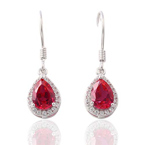 Created Ruby Sterling Silver Drop Earring For Women Elegant Red Stone Teardrop Dangle Earrings for Party Wedding Gifts