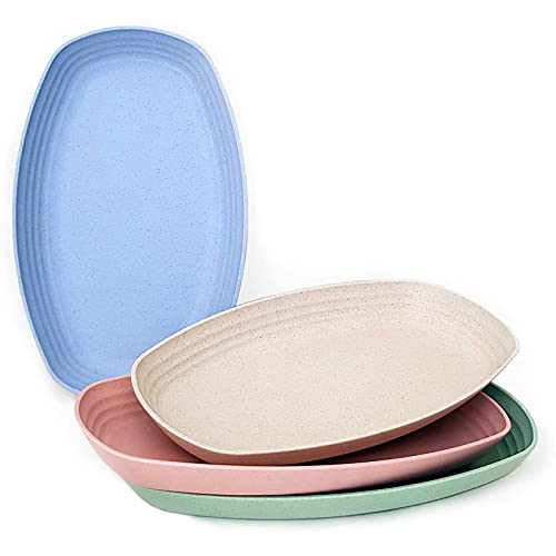 LEERIAN Green Element Tableware Plates, Environmentally Friendly Wheat Straw Household Insulation And Anti-Fall Board 11-Inch Kitchen Supplies (4 Pieces)