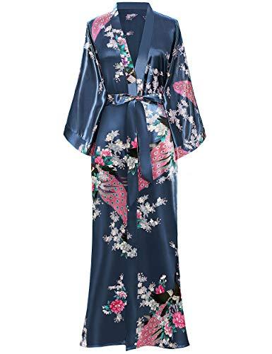 BABEYOND Damen Morgenmantel Maxi Lang Kimono Strandkleid Pfau Gedruckt Strickjacke Kimono Bademantel Damen Lange Robe Schlafmantel Girl Pajama Party (Preußischblau)