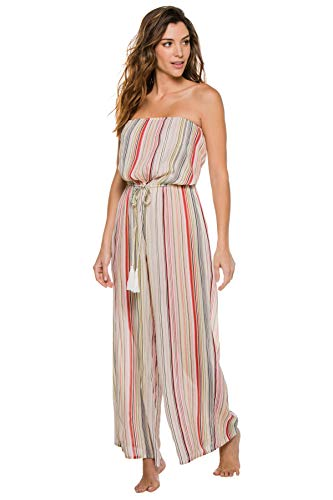 Elan International Women's Wovens Striped Jumpsuit Swim Cover Up Multi Stripe S