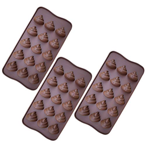 TOPBATHY 3pcs 15 Even Baking Molds Poop Shaped Cute Funny Silicone Chocolate Mold Stool Candy Molds for Jello