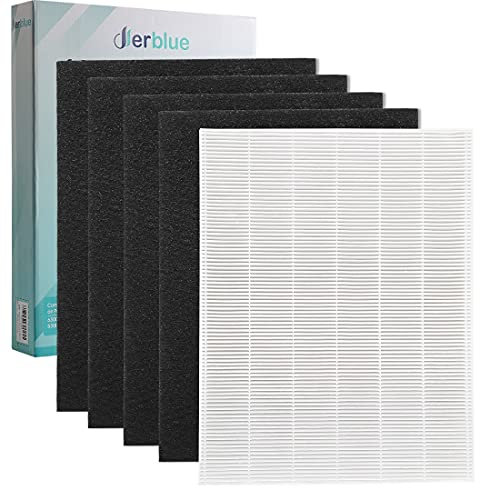 DerBlue 1 True HEPA Filter & 4 Carbon Replacement Filters A 115115 Size 21 for Winix PlasmaWave Air Purifier 5300...