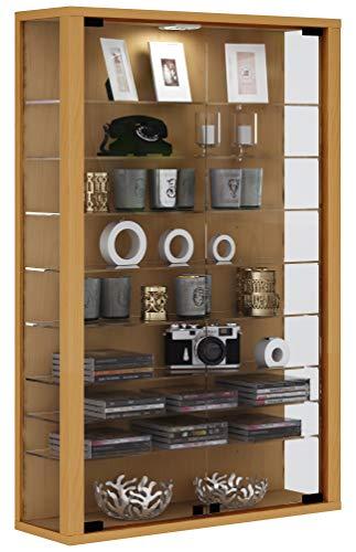 VCM Vitrine Wandvitrine Sammelvitrine Wand Regal Glas Hänge ohne Beleuchtung Buche 90 x 59 x 18 cm