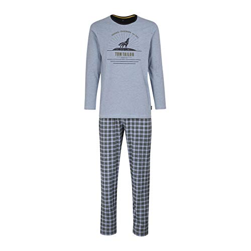 TOM TAILOR Herren Pyjama blau Melange 1er Pack 52