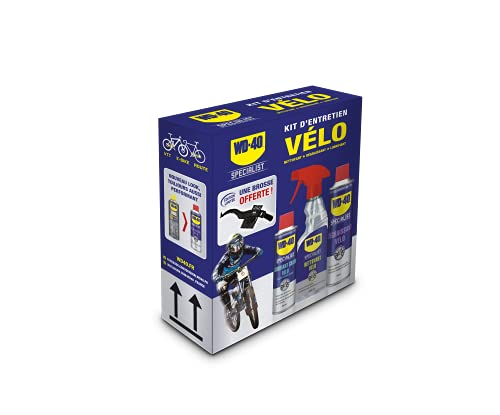 WD-40 BIKE • Kit Entretien Vélo • un Dégraissant • un Nettoyant Complet • un Lubrifiant Chaîne • une Brosse de Nettoyage Offerte • Solution 3 en 1 pour Vélo de route, VTT et E-Bike