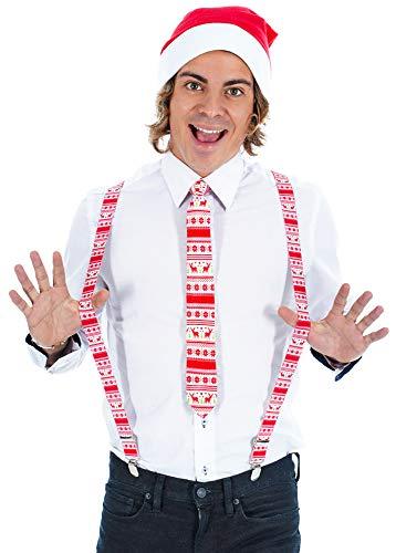 Das Kostümland Weihnachtsmann Set Ugly - 3-TLG. - Hosenträger Krawatte Mütze - Rot Weiß - Kostüm Weihnachtsfeier Nikolaus