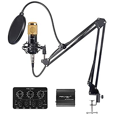 FELYBY Professional Condenser Microphone, Studio Recording Microphone Set, Compatible with PC/Laptop/Tablet/Phone/PS4, Mic for streaming/singing/gaming/YouTube Video (black)
