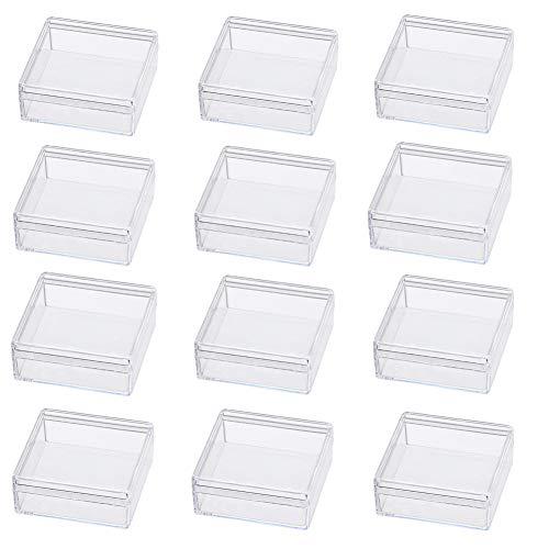 BENECREAT 15 Pack Cajita de Almacenamiento Contenedores de Plástico de Alta Transparencia 5x5x2cm para Artículos de Belleza, Cuentas Pequeñas, Hallazgos de Joyería y Otros Artículos Pequeños