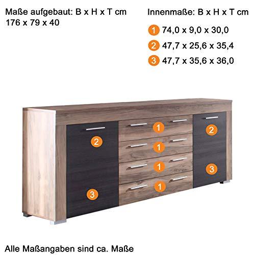 trendteam BM87259 Sideboard Wohnzimmerschrank Nussbaum-satin, Absetzungen dunkelbraun Touchwood Nachbildung, BxHxT 176x79x40 cm - 2