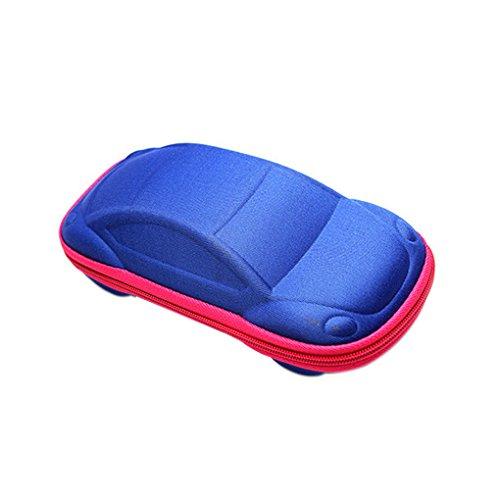 qhgstore Kids diseño de coche cremallera Gafas de sol Gafas Caja Soporte azul azul