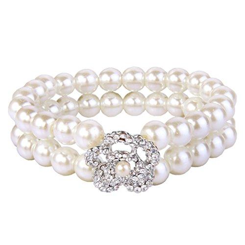 EVER FAITH Hibiscus Flower Simulated Pearl Wedding Adjustable Bracelet Clear Austrian Crystal