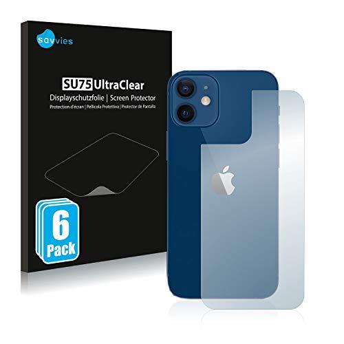 Savvies 6X Schutzfolie kompatibel mit Apple iPhone 12/12 Pro (Rückseite) Displayschutz-Folie Ultra-transparent