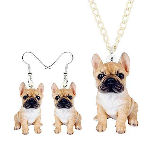 DOWAY Acrylic French/British Bulldog Jewelry Set, Includes Drop Earrings & Necklace Pendant, Pet Pug Dog Gifts (Beige)