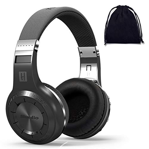 Bluedio Turbine H+ Plus Wireless Bluetooth 5.0 Stereo Headphones with Mic, Shocking Bass Headphones with Storage Bag for Music Enthusiast, Voice Control (on ear, Black, with SD Card Slot/FM Radio)