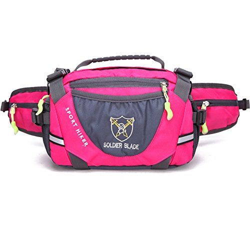 LinYin Outdoor Sport Large Capacity Waist Bag Fanny Pack for Men Women Travelling,Cycling, Hiking,Camping (Rose)