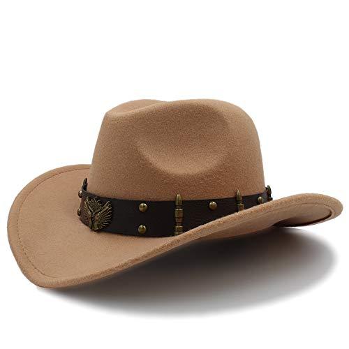 SSLA SSLA 2018 Damen Herren Unisex Vintage Wollfilz Cowboy Breiter Krempe Bowler Hut Türkis Braid Band (57cm) (Farbe : Khaki, Größe : 56-58cm)