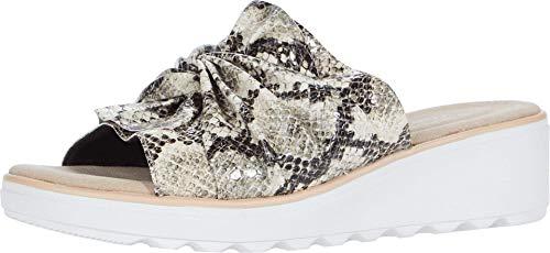 Clarks Womens Jillian Leap Wedge Sandal, Taupe Snake Synthetic, 8
