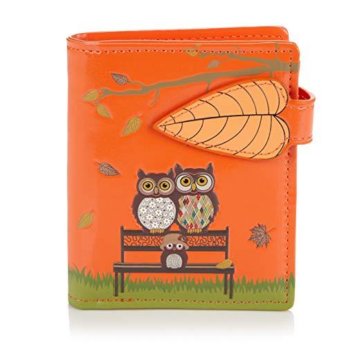 Shagwear Shagwear ® Portemonnaie Geldbörse Damen Geldbeutel Mädchen | Bifold Mehrfarbig Portmonee Designs: (Parkbank Orange/The Park Bench)