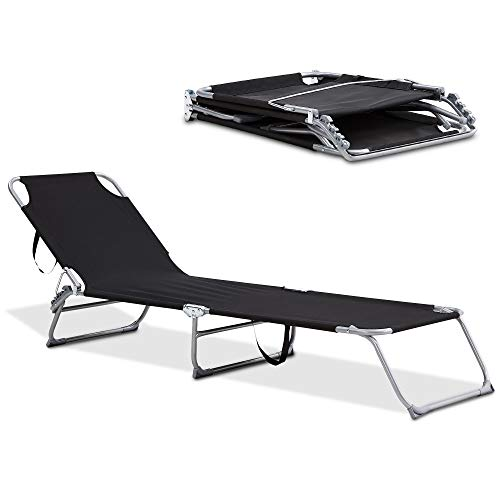 LIVIVO Foldable Sun Lounger with Adjustable Back and Leg Rests – Relax in Comfort and Style – Folding Lightweight Frame (Black)