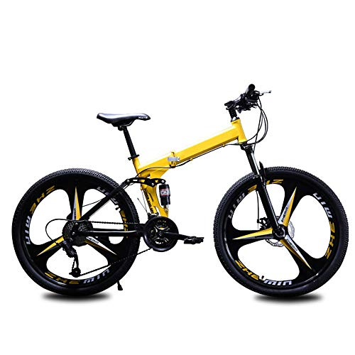 Mountain Bike 26 Inch,21-Speed Folding Bicycles for Adults and Teens,White/Black/red/Yellow,Suitable for Men and Women