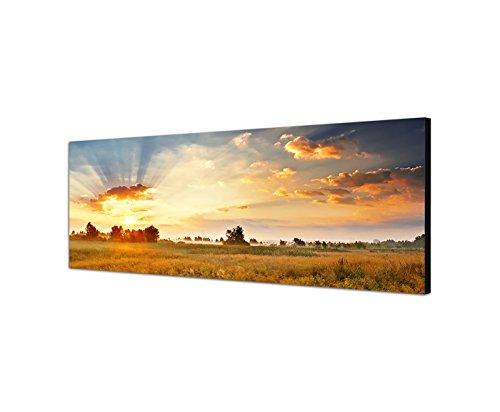 Augenblicke Wandbilder Leinwandbild als Panorama in 150x50cm Wiese Landschaft Wolkenhimmel Sonne