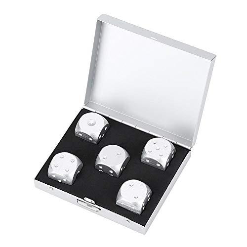 JADESHAY 6 zijdelingse dobbelstenen set - aluminium legering DND dobbelstenen tafel spel poker spellen dobbelstenen set met opbergdoos, 5 stks