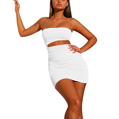 Rawdah_Vestido Mujer Fiesta Verano Largo Corto Casual Talla Grande Señoras de Verano Sexy Fuera del Hombro Tops Falda Corta Traje lápiz Delgado Conjunto