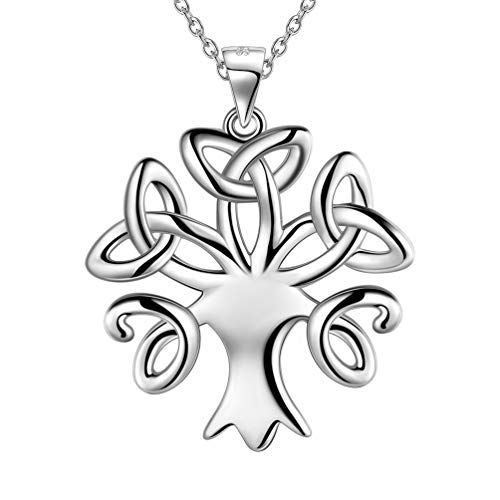 Besilver Celtic Knot Tree of Life Necklace Charm 925 Sterling Silver Trinity Knot Tree Pendant Neckalce Womens Jewelry Gift Family Symbolic Gift FP0128W
