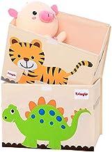 TsingLe - Cajas de almacenamiento para juguetes con tapa, tamaño grande, para guardar juguetes, libros, ropa de cama, 36 x 52 x 35 cm, 65 L (dinosaurio y tigre)