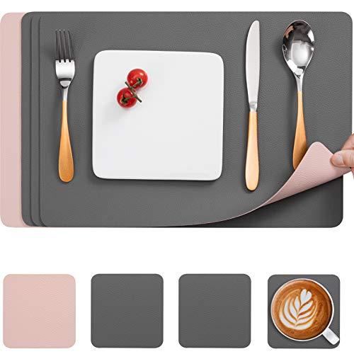 Myir JUN Tischsets Leder und Untersetzer, Doppelseitigen Tischsets Abwaschbar rutschfest PU Glasuntersetzer Platzdeckchen Leder Kunstleder Tischset Lederoptik Platzset (Grau Rosa,4er Set)