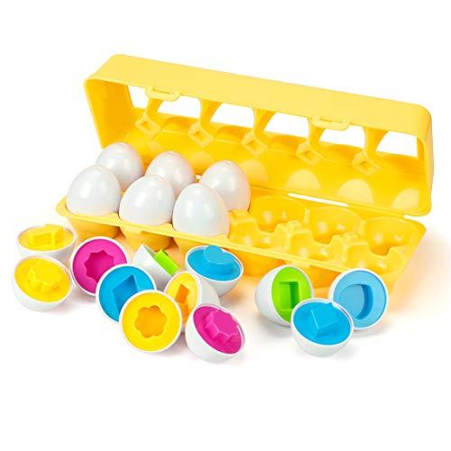 EXTSUD Huevos de Pascua Juguete Educativo para Niños Mayores de 3 Años Juego de Reconocimiento de Color y Forma Puzzle