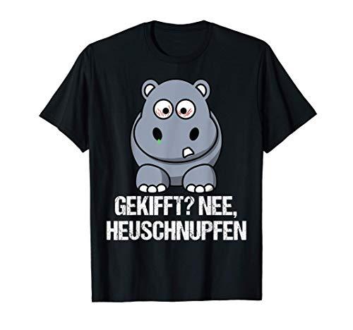 Lustiges Nilpferd Motiv - Nilpferd Hippo mit Heuschnupfen T-Shirt