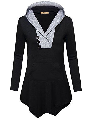 Miusey Hoodies for Women, Girls Pullover V Neck Kangaroo Sweatshirt Cute Lightweight Thermal Varsity Long Sleeve Jersey Shirt Plain Basic Cool Casual Knit Loose Slim Fit Asymmetric Tunic Top Black M