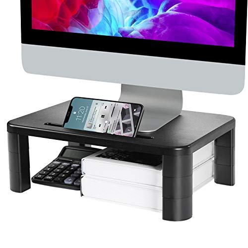 LORYERGO Monitor Stand Riser - 3 Height Adjustable Monitor Stand with Storage Function for Screen, Computer, Laptop, Desktop Stand Built with Phone & Tablet Holder
