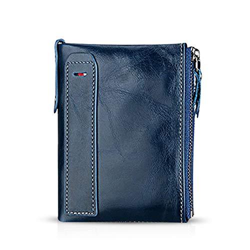 FANDARE Portafoglio Uomo protezione anti-RFID Donna Portafogli Pelle, Portafoglio Pieghevole, con porta carte di credito, portamonete porta tessere Blu