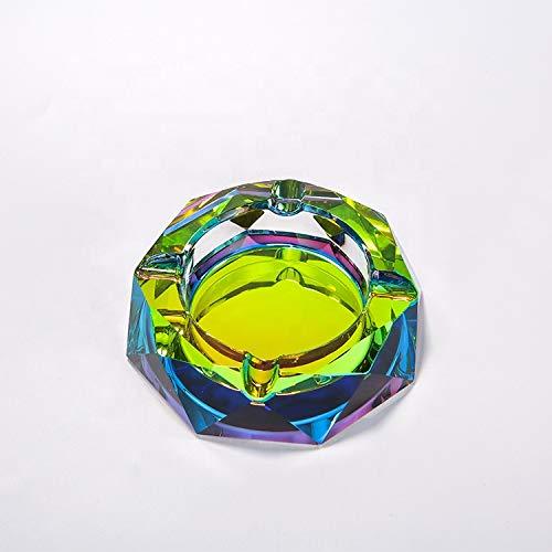EJKDF Cenicero de Cristal, Impermeables y fáciles de Limpiar el Arco Iris Octagonal Regalos de decoración de Cristal, Decoraciones de Escritorio para la Oficina y la ofici Color