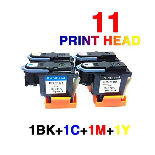 Price comparison product image 1set Excellent for hp11 Printhead Replacement for 11 Printhead C4810A C4811A C4812A C4813A Fit for HP Designjet 70 90 100 110 500 510 500ps 800ps 9110 K850 (1BK+1C+1M+1Y)