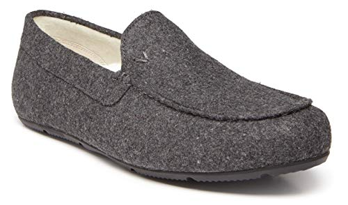 Vionic Men's Borough Tompkin Slippers - Moccasin Slipper with Concealed Orthotic Arch Support Charcoal 10.5 D US