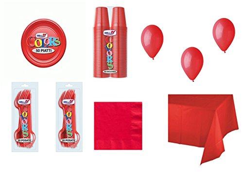 Big Party Coordinato Monocolore Rosso per Feste E Eventi - Kit n°21 CDC - (50 Piatti, 100 Bicchieri, 50 TOVAGLIOLI,1 TOVAGLIA, 40 FORCHETTE, 100 Palloncini)