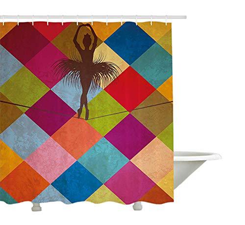 Yeuss Moderne Dekor Duschvorhang von, abstrakte Schatten wie dunkelbraune Ballerina mit bunten sechseckigen Hintergrund, Stoff Badezimmer Dekor Set mit Haken, Multicolor 72 'x 80'