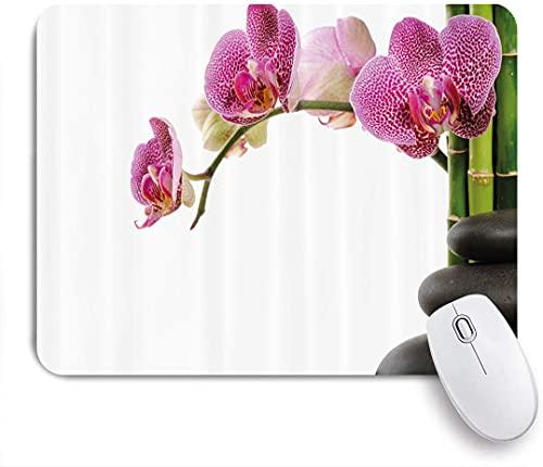 HARXISE Alfombrilla Gaming,Piedras de SPA de meditación con orquídeas y Tallos de bambú Imagen de Chakra de Yoga,con Base de Goma Antideslizante,240×200×3mm
