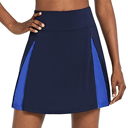 BALEAF Women's Cycling Skirt 3D Padded Bike Shorts Biking Zipper Athletic Skort Pockets, Blue L