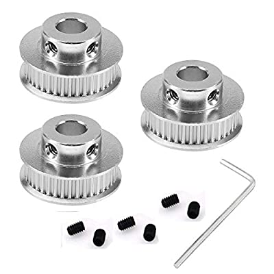 3Dman GT2 40 Teeth Bore 5mm Timing Pulley Synchronous Wheel Aluminum for Width 6mm for 3D Printer Parts(Pack of 3pcs)